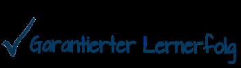 Hacken und Schrift mit :Garantierter Lernerfolg
