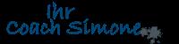 Ein Schriftzug in blau: Ihr Coach Simone Breitzke